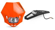 New Polisport MMX Headlight Enduro Road Legal Orange LED Enduro Stop Tail Light